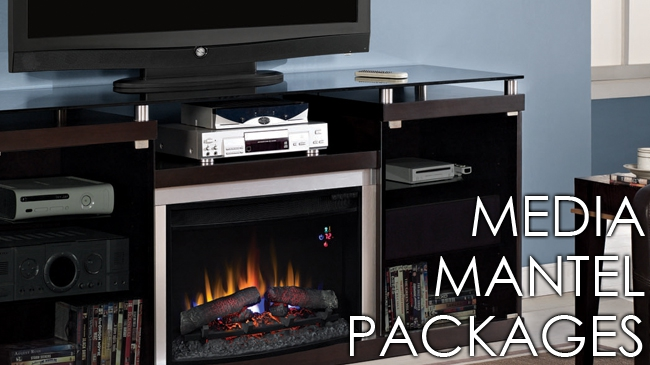 Media TV Fireplace and Mantel Packages