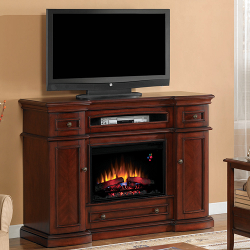 "Montgomery 26"" Wall Mantel and Fireplace, Vintage Cherry - Classic Flame"