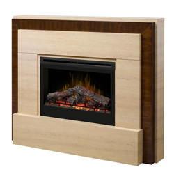 "Gibraltar 33"" Wall Mantel and Fireplace, Travertine and Burnished Walnut - Dimplex"