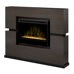"Linwood 33"" Wall Mantel and Contemporary Fireplace, Rift Grey - Dimplex"
