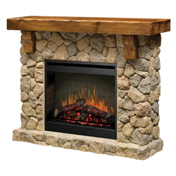 "Fieldstone 26"" Wall Mantel and Fireplace, Stone and Pine - Dimplex"