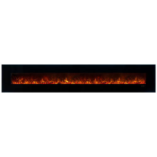 "144"" Ambiance CLX Electric Fireplace, Black Glass Surround - Modern Flames"