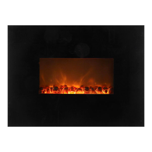 "38"" Wall Mount Linear Electric Fireplace, Black Glass Surround - Modern Flames"