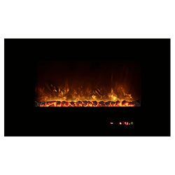"43"" Wall Mount Linear Electric Fireplace, Black Glass Surround - Modern Flames"