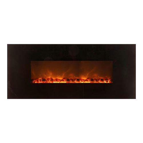 "58"" Wall Mount Linear Electric Fireplace, Black Glass Surround - Modern Flames"