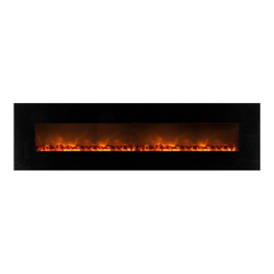 "95"" Wall Mount Linear Electric Fireplace, Black Glass Surround - Modern Flames"