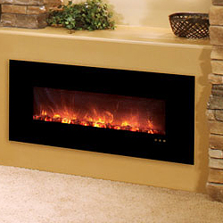 "43"" Fantastic Flame Electric Fireplace (No Heat Model), Black Glass Surround - Modern Flames"